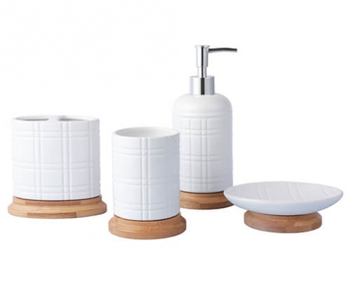 Grid embossed bath set